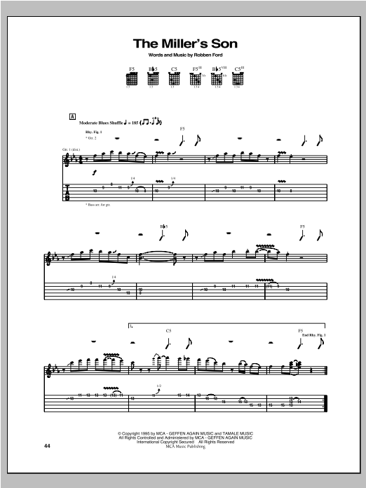 Tablature guitare The Miller's Son de Robben Ford - Tablature Guitare