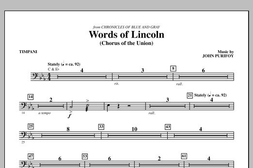 Words of Lincoln - Timpani (Choir Instrumental Pak)