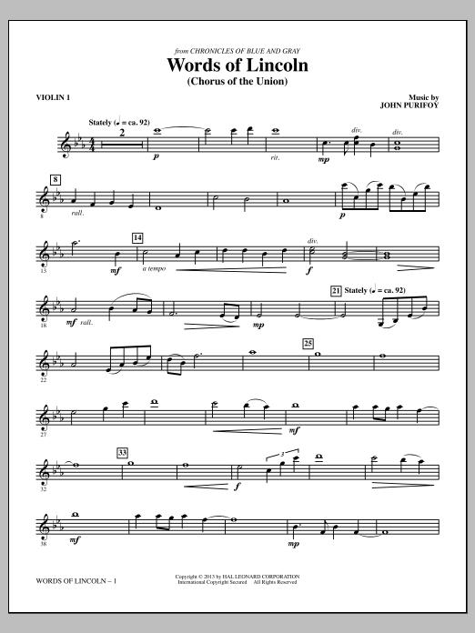 Words of Lincoln - Violin 1 (Choir Instrumental Pak)