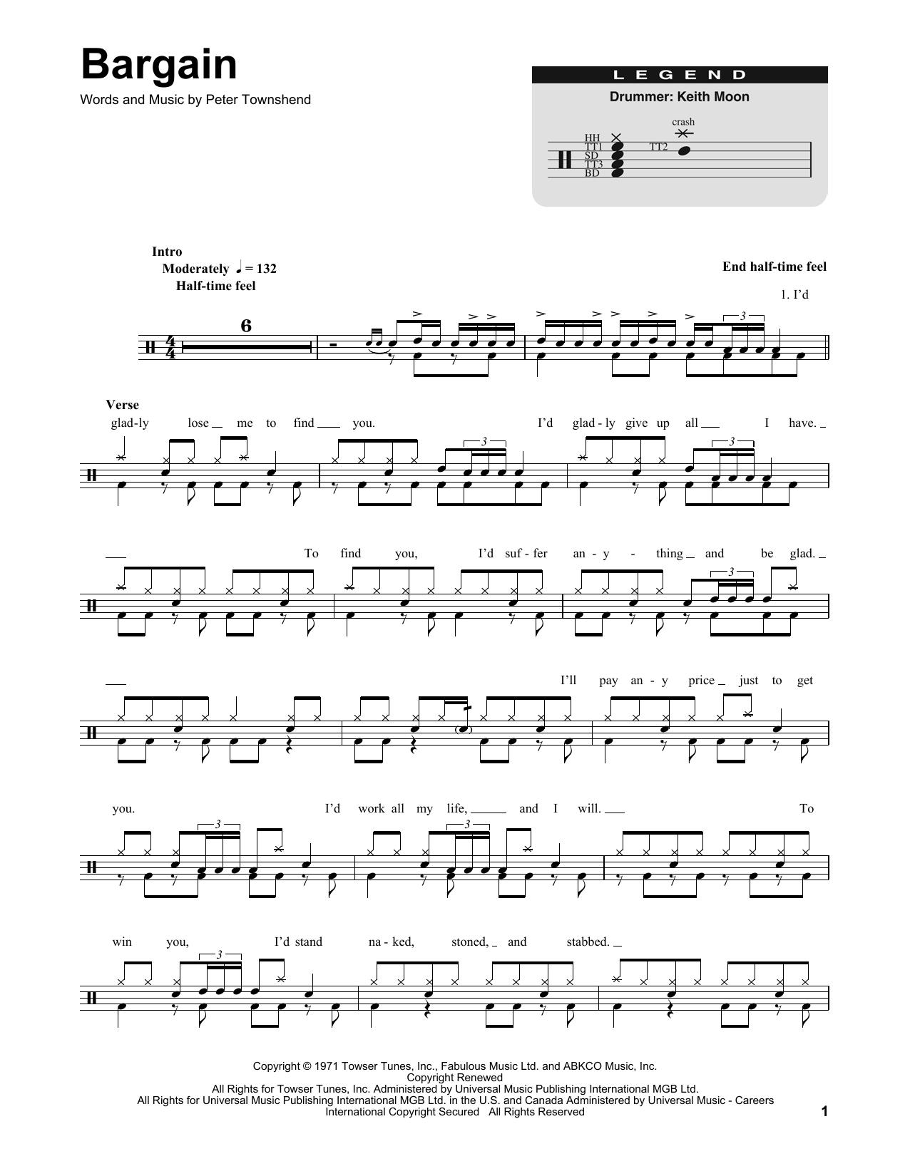 Bargain (Drums Transcription)