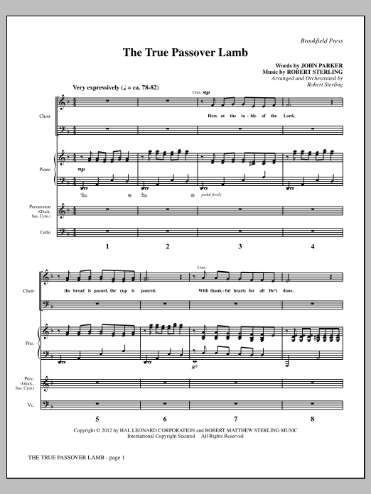 The True Passover Lamb (COMPLETE) sheet music for orchestra/band by John Parker and Robert Sterling. Score Image Preview.