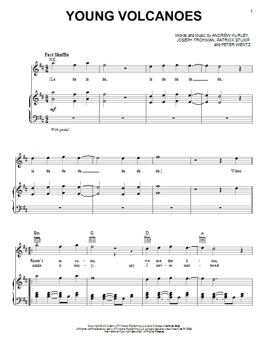 Guitar young volcanoes guitar chords : Young Volcanoes sheet music by Fall Out Boy (Piano, Vocal & Guitar ...