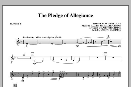 The Pledge of Allegiance - F Horn Sheet Music