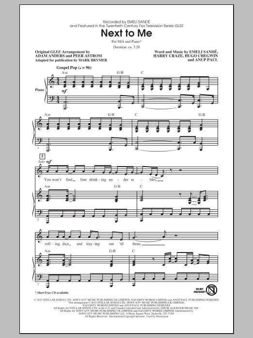 Next To Me (arr. Mark Brymer) Sheet Music