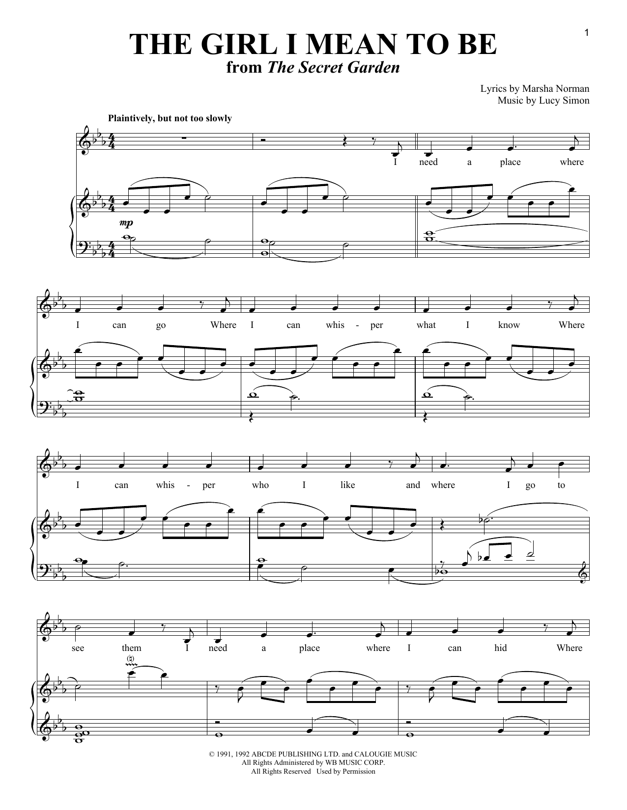 The Girl I Mean To Be Sheet Music