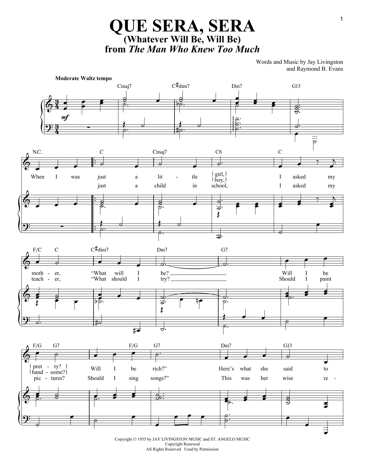 Que Sera, Sera (Whatever Will Be, Will Be) : Sheet Music Direct