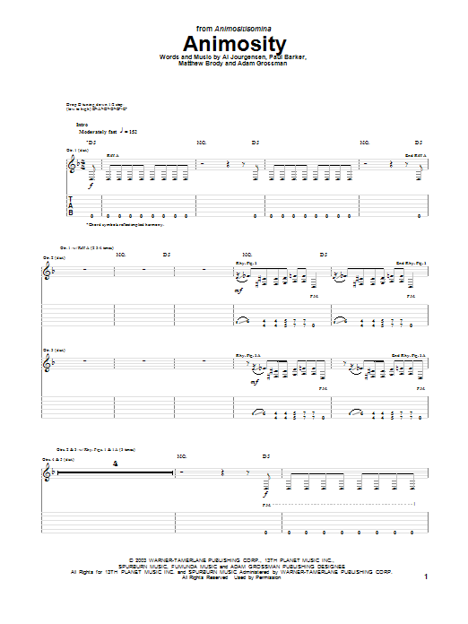 Animosity Sheet Music