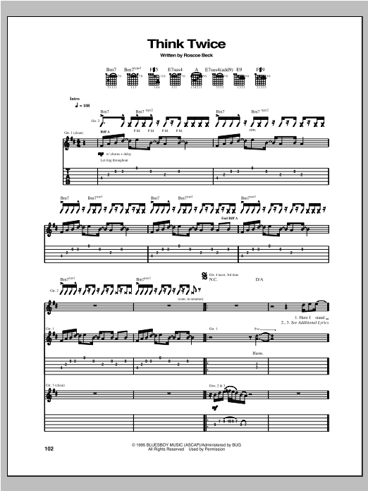 Tablature guitare Think Twice de Robben Ford - Tablature Guitare