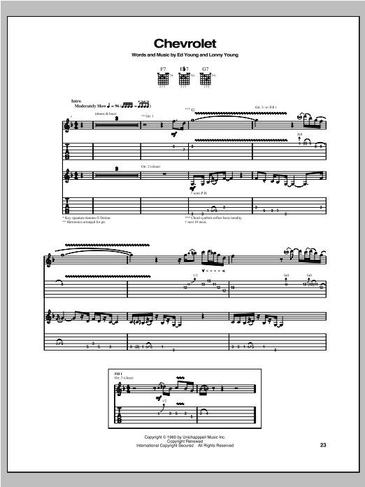 Chevrolet Sheet Music