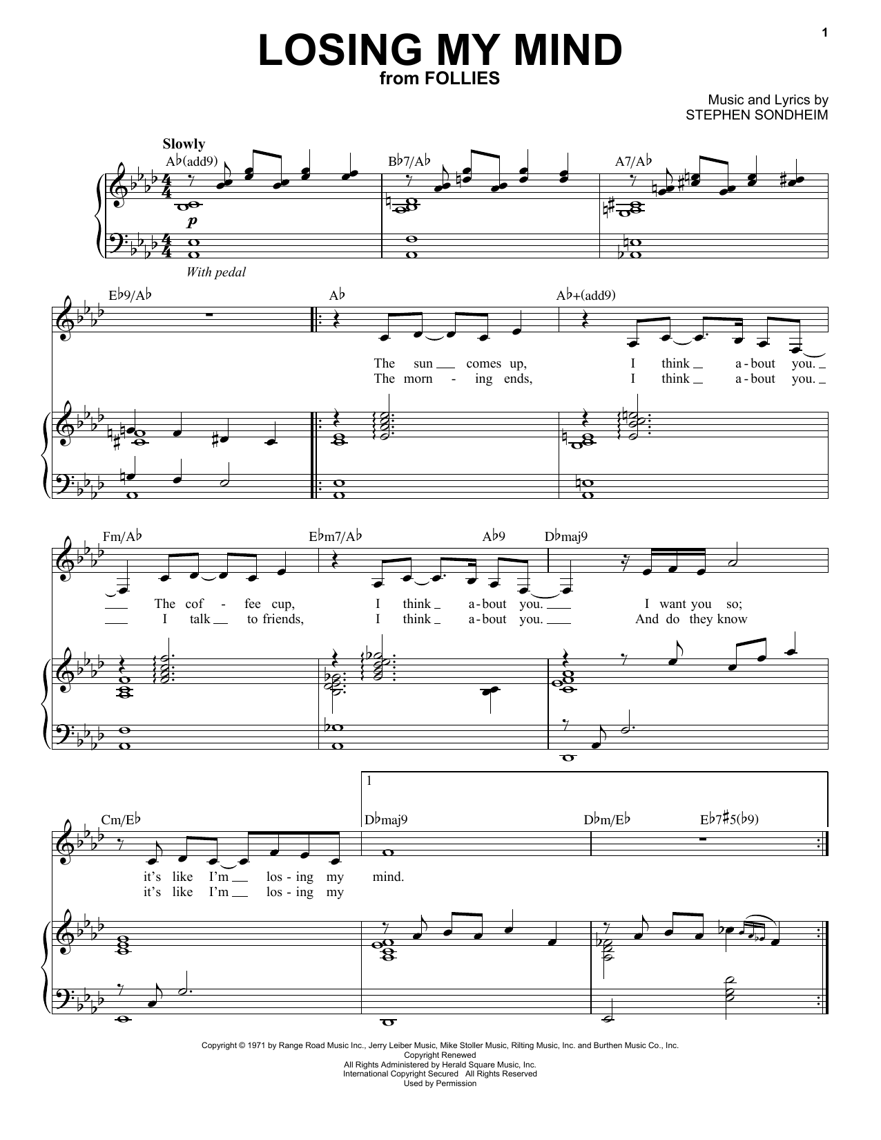 Partition piano Losing My Mind de Stephen Sondheim - Piano Voix