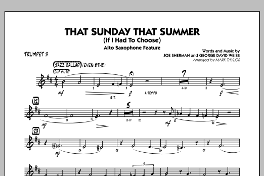 That Sunday That Summer (If I Had to Choose) - Trumpet 3 (Jazz Ensemble)