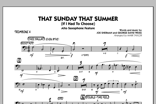 That Sunday That Summer (If I Had to Choose) - Trombone 4 (Jazz Ensemble)