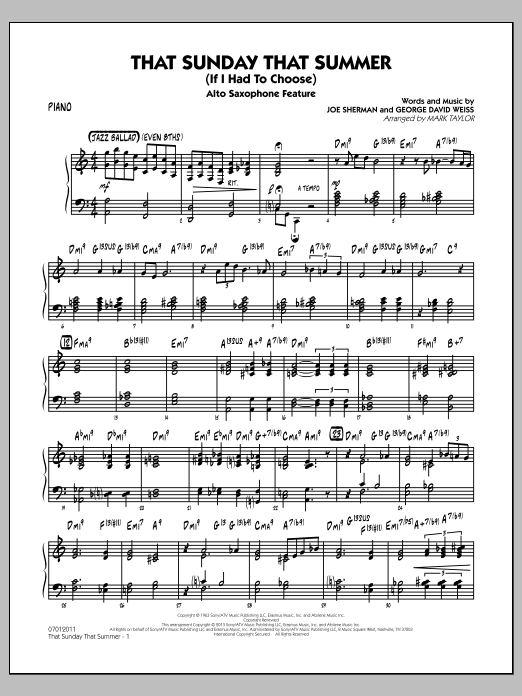 That Sunday That Summer (If I Had to Choose) - Piano (Jazz Ensemble)