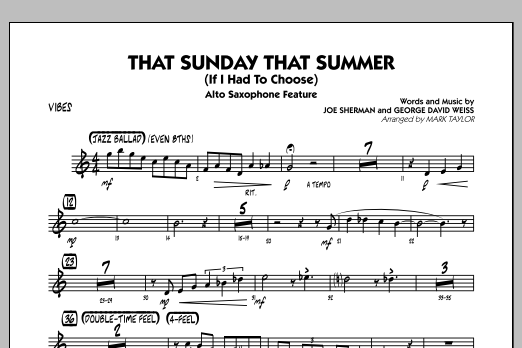 That Sunday That Summer (If I Had to Choose) - Vibes (Jazz Ensemble)