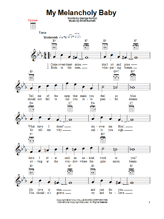 My Melancholy Baby Sheet Music