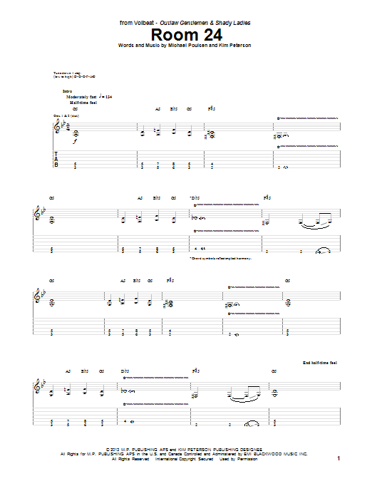 Tablature guitare Room 24 de Volbeat - Tablature Guitare