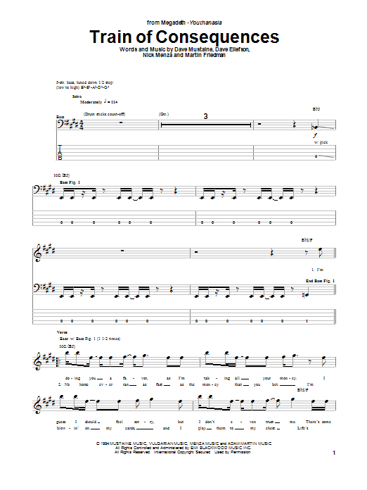 Tablature guitare Train Of Consequences de Megadeth - Tablature Basse