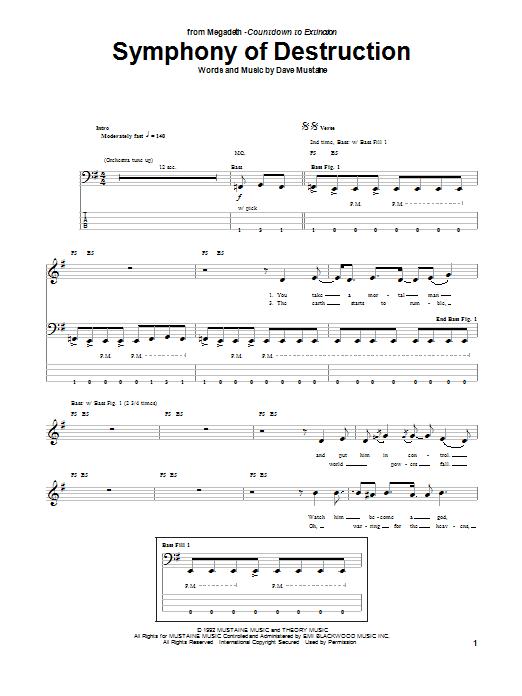 Symphony Of Destruction (Bass Guitar Tab)