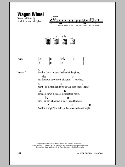 Wagon Wheel sheet music by Bob Dylan (Lyrics & Chords – 150310)