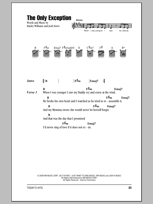 The Only Exception Sheet Music