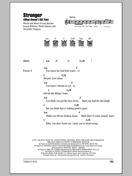 Stronger What Doesnt Kill You Sheet Music Direct