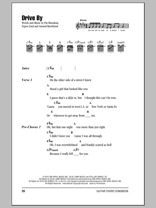 Drive By by Train - Guitar Chords/Lyrics - Guitar Instructor