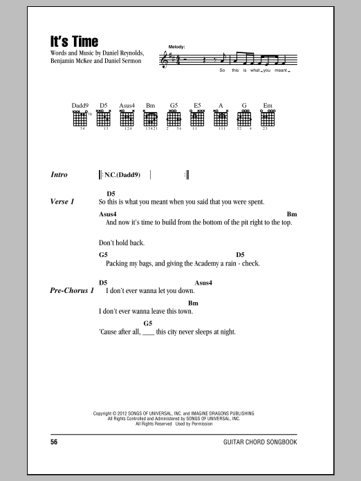 It\'s Time by Imagine Dragons - Guitar Chords/Lyrics - Guitar Instructor