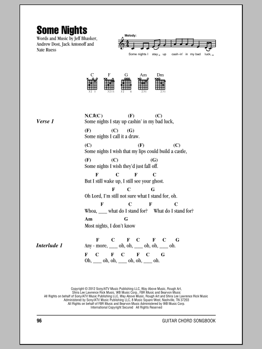 Some Nights Sheet Music
