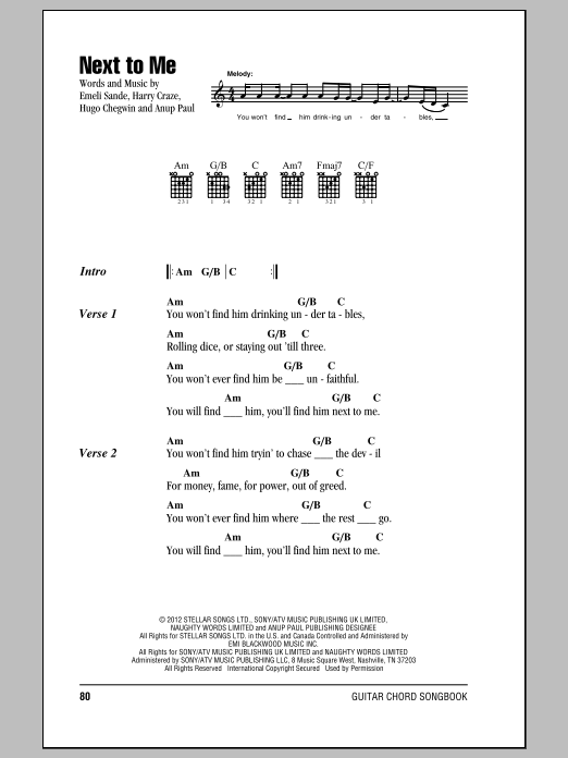 Next To Me Sheet Music