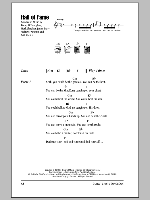 Hall Of Fame (feat. will.i.am) Sheet Music
