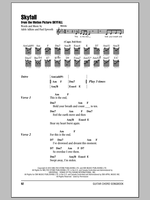 Skyfall sheet music by Adele (Lyrics & Chords – 150319)