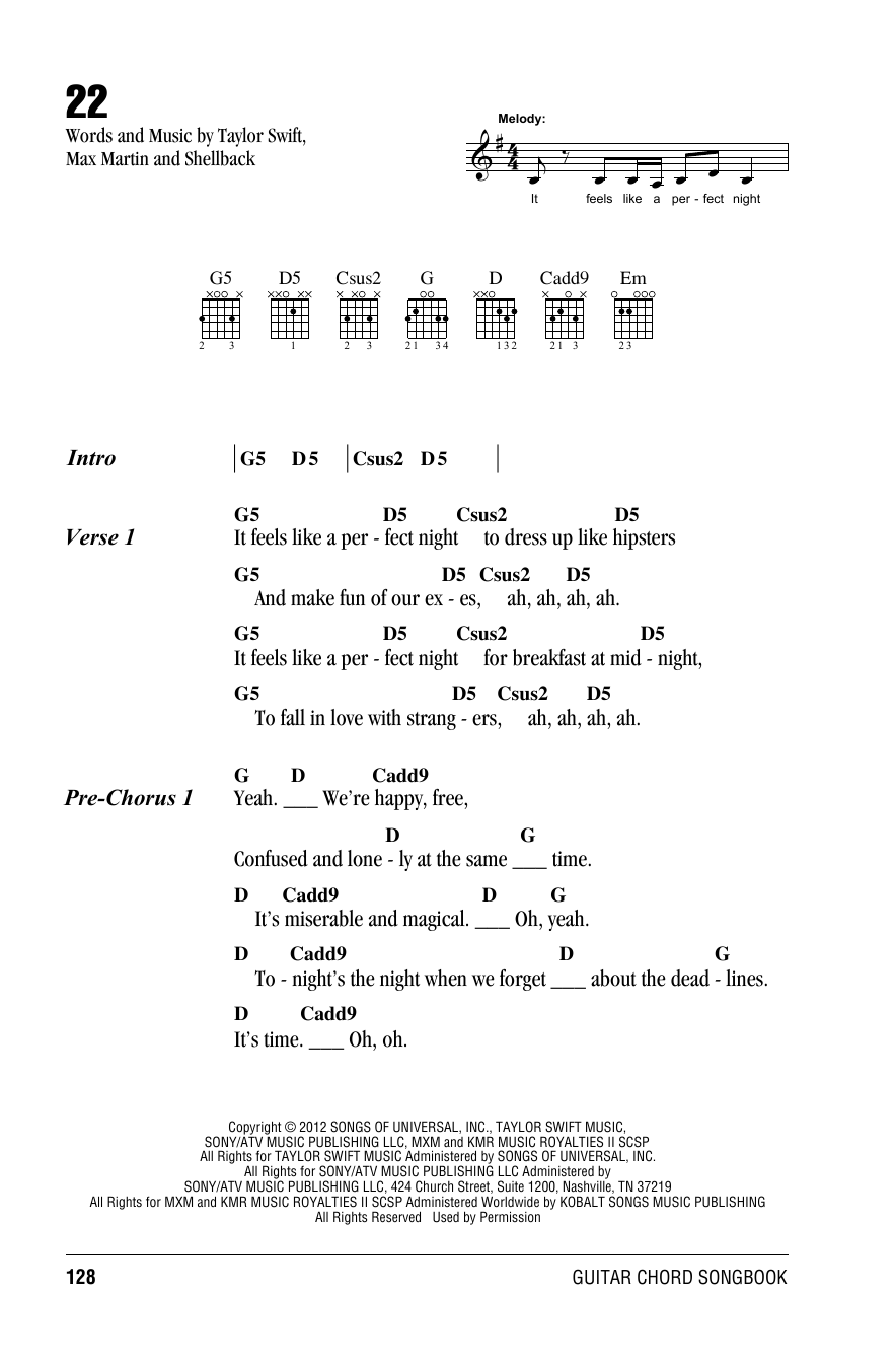 22 chords by Taylor Swift -Amchords
