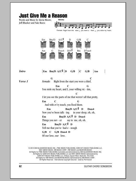 Just Give Me A Reason Sheet Music