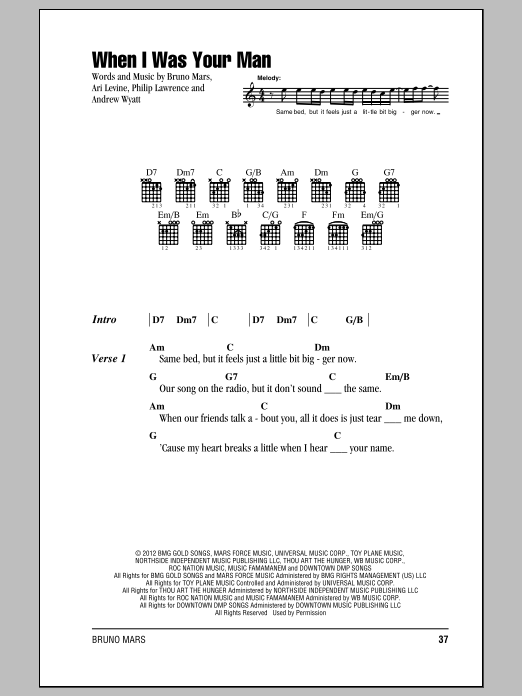 When I Was Your Man Sheet Music By Bruno Mars Lyrics Chords 150340