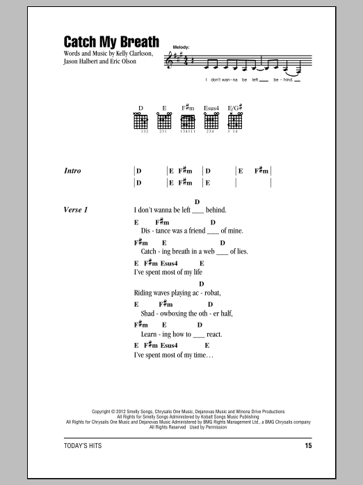 Catch My Breath Sheet Music
