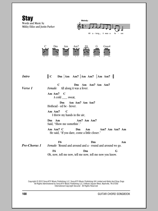 Stay Sheet Music By Rihanna Lyrics Chords 150314