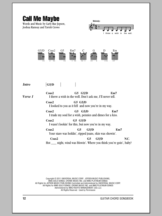 Call Me Maybe sheet music by Carly Rae Jepsen (Lyrics u0026 Chords u2013 150316)