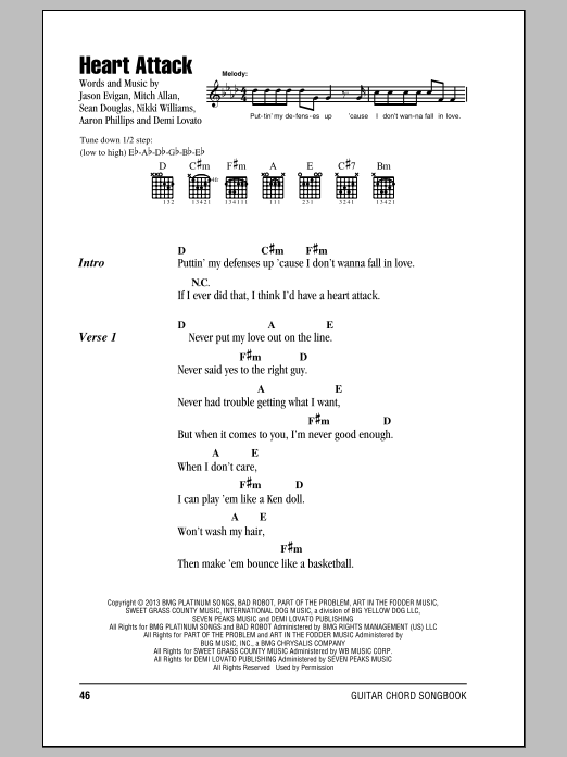 Heart Attack Sheet Music Demi Lovato Lyrics Chords