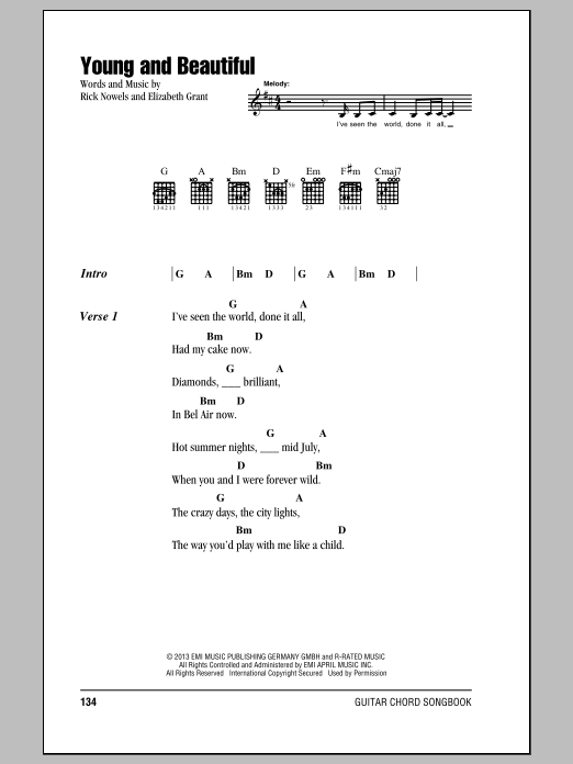 Young And Beautiful Sheet Music Lana Del Ray Lyrics Chords