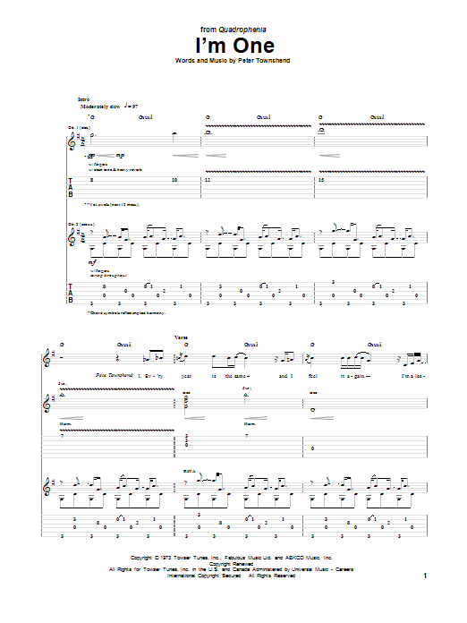 Tablature guitare I'm One de The Who - Tablature Guitare