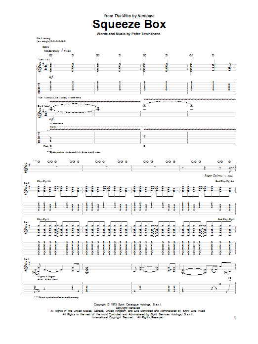 Tablature guitare Squeeze Box de The Who - Tablature Guitare