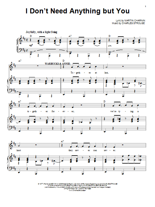 I Don't Need Anything But You Sheet Music