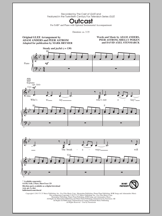 Outcast (arr. Mark Brymer) Sheet Music