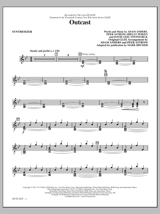 Outcast (complete set of parts) sheet music for orchestra/band by Mark Brymer and Glee Cast. Score Image Preview.