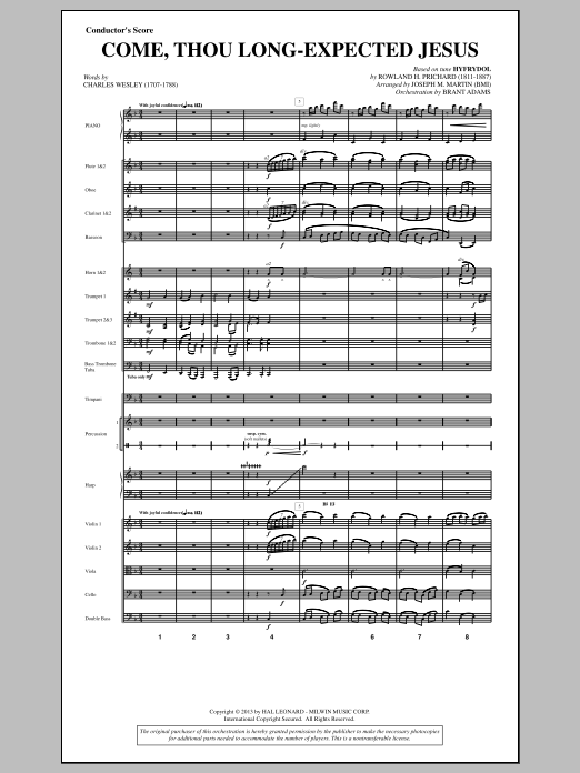 Come, Thou Long-expected Jesus (from A Symphony Of Carols) (COMPLETE) sheet music for orchestra/band by Joseph M. Martin. Score Image Preview.
