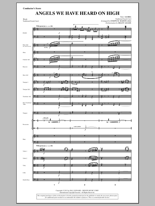 Angels We Have Heard On High (from A Symphony Of Carols) (COMPLETE) sheet music for orchestra/band by Joseph Martin, Joseph M. Martin and Miscellaneous. Score Image Preview.