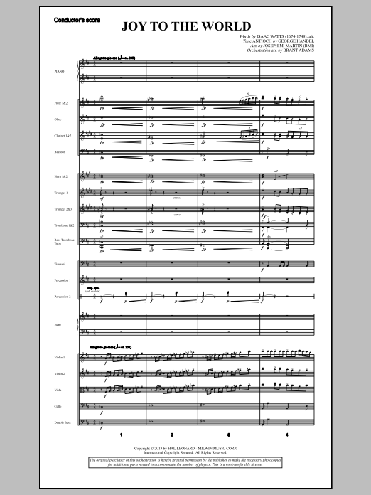 Joy To The World (from A Symphony Of Carols) (COMPLETE) sheet music for orchestra/band by Joseph M. Martin and George Frideric Handel. Score Image Preview.