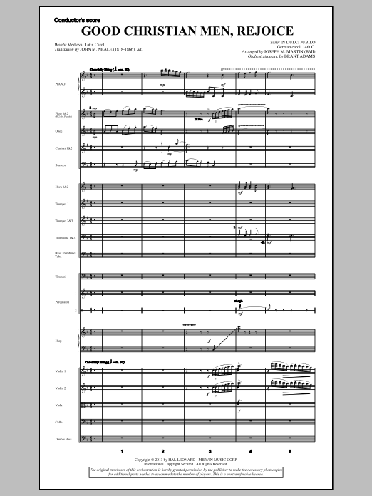 Good Christian Men, Rejoice (from A Symphony Of Carols) (COMPLETE) sheet music for orchestra/band by Joseph M. Martin. Score Image Preview.