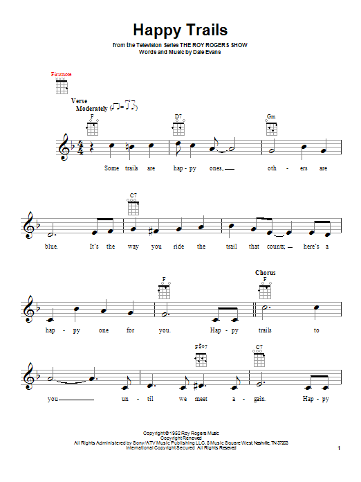 Tablature guitare Happy Trails de Roy Rogers - Ukulele