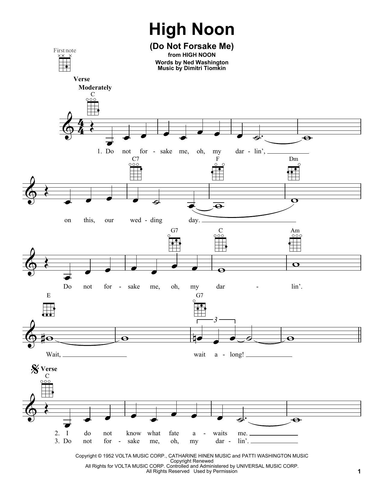 High Noon (Do Not Forsake Me) Sheet Music
